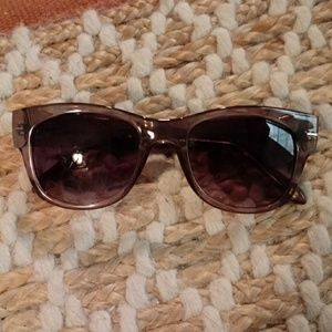Fossil Brown Tint Clear Frame Sunglasses